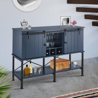 52 in. Gray Wood Bar Cabinet with Sliding Door