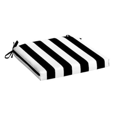 Black Cabana Stripe Rectangle Outdoor Seat Pad
