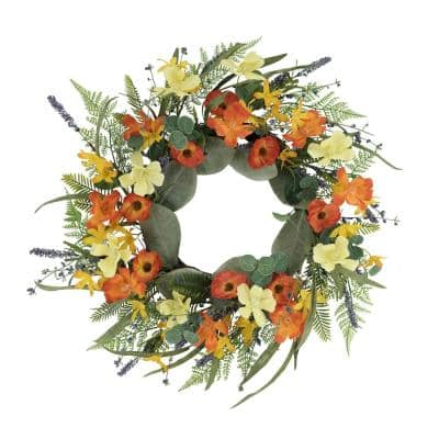 24 in. Artificial Dogwood and Poppy and Daisy Floral Spring Wreath