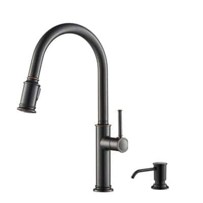 Sellette Single-Handle Pull-Down Sprayer Kitchen Faucet with Deck Plate and Soap Dispenser in Oil Rubbed Bronze