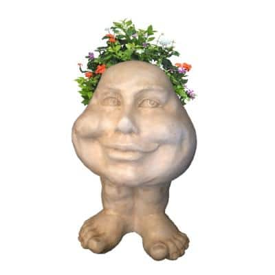 8.5 in. Antique White Daisy the Muggly Face Statue Planter Holds 3 in. Pot