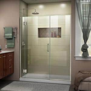 Dreamline Unidoor X 53 To 53 5 In X 72 In Frameless Hinged Shower Door In Chrome D1252272 01 The Home Depot