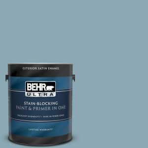 Behr Ultra 1 Gal 530f 4 Newport Blue Satin Enamel Exterior Paint And Primer In One 985401 The Home Depot