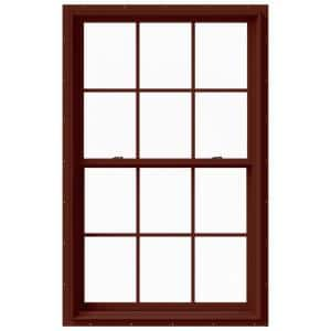 37.375 in. x 60 in. W-2500 Series Red Painted Clad Wood Double Hung Window w/ Natural Interior and Screen