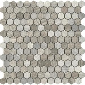 Marble Gray 12.01 in. x 12.13 in. Honeycomb Honed Limestone Mosaic Tile (0.978 sq. ft./Each)