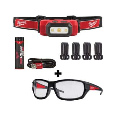 475 Lumens LED Rechargeable Hard Hat Headlamp with Performance Safety Glasses
