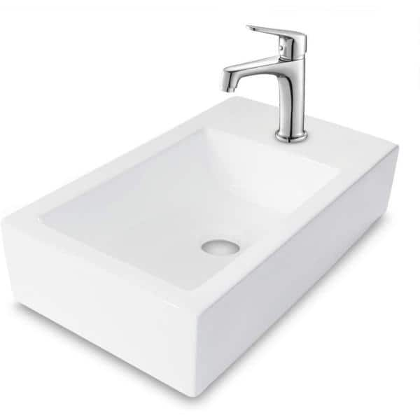 Boyel Living 18 In X 10 In Wall Mounted White Porcelain Ceramic Rectangle Bathroom Sink White Sl Lgp1810 The Home Depot