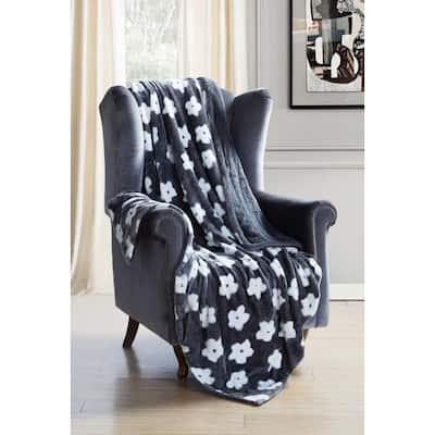 Lynnia Grey Floral Throw Blanket