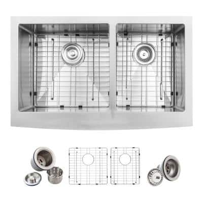 Farmhouse Apron Front Stainless Steel 33 in. Double Basin 60/40 Kitchen Sink Kit in Satin