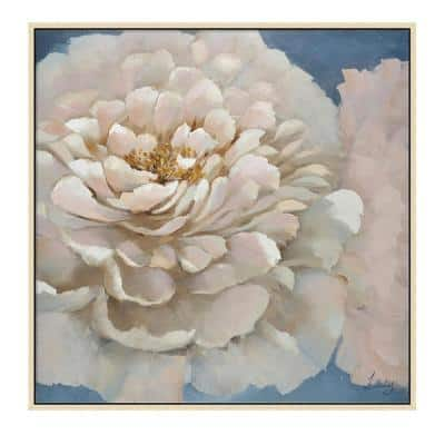 """""""Pink Flower in. Wooden Floating Frame Hand Painted Acrylic Wall Art 39 in. x 39 in."""