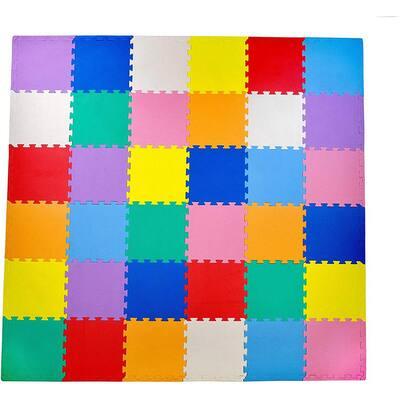 Multicolor 12 in. x 12 in. Exercise Children's Interlocking Puzzle EVA Play Foam Floor Mat (36 sq. ft.) (54-Borders)