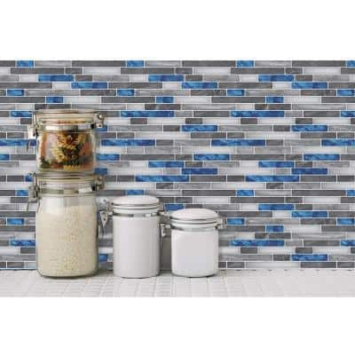 Staggered Blue and Gray 12 in. x 12 in. Peel and Stick Decorative Tile Self-adhesive Wall Tile Backsplash (10-Tiles)