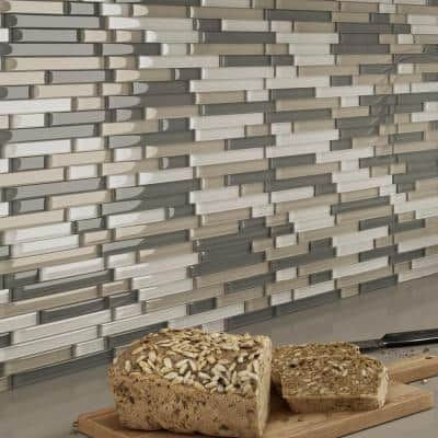 Placidity Mixed Grays 4 in. x 4 in. Glass Self-Adhesive Wall Mosaic Tile Sample