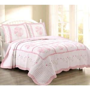 Pink Perfection Camellia Floral Vine 3-Piece Embroidered Ruffle Scalloped Cotton Queen Quilt Bedding Set