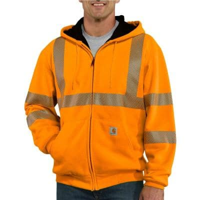 Men's Tall Extra Large Brite Orange Polyester High Visibility Zip-Front Class 3 Thermal Sweatshirt
