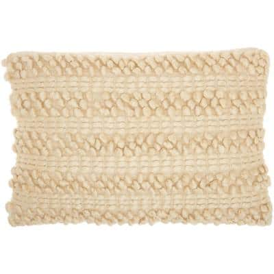 Life Styles Beige Rectangle Farmhouse Textured Cotton Woven 14 in. x 20 in. Throw Pillow