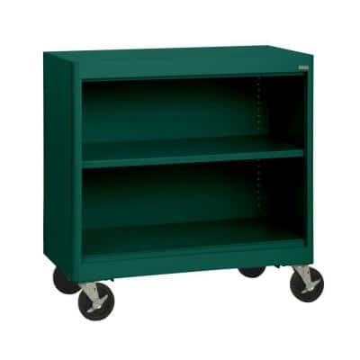 36 in. Forest Green Metal 2-shelf Cart Bookcase with Adjustable Shelves