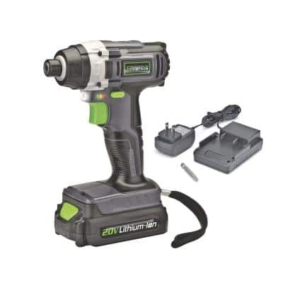20-Volt Lithium-ion Cordless Quick-Change Impact Driver with Light, Power Indicator, Charger, Battery and Bit