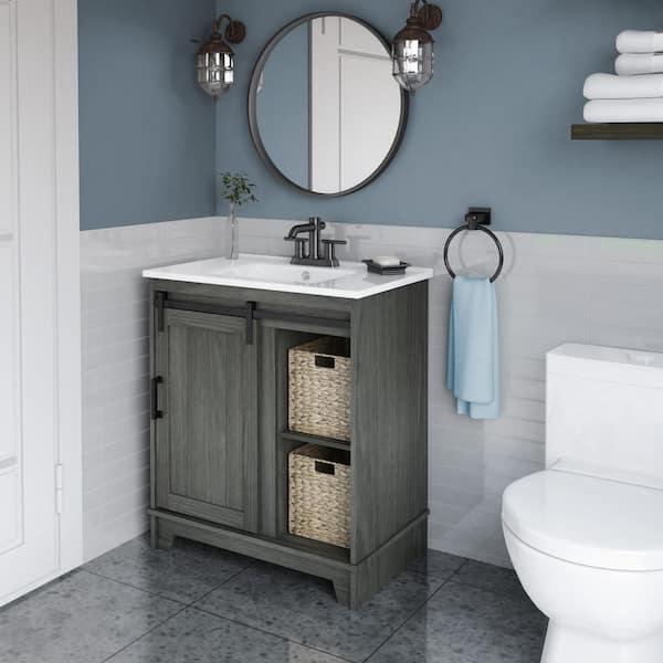 D Bath Vanity In Geneva Oak, 30 Wide Bathroom Vanity