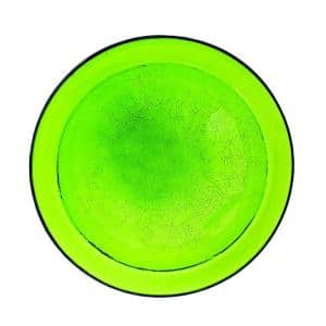 12.5 in. Dia Fern Green Reflective Crackle Glass Birdbath Bowl