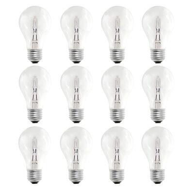 43-Watt A19 Dimmable Soft White Halogen Light Bulb (12-Pack)