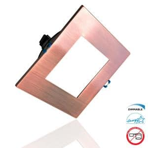 DLE Series 6 in. Square 4000K Aged Copper Integrated LED Recessed Canless Downlight with Trim