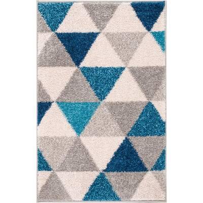 Mystic Alvin Mid-Century Modern Geometric Blue 20 in. x 31. in Accent Door Mat