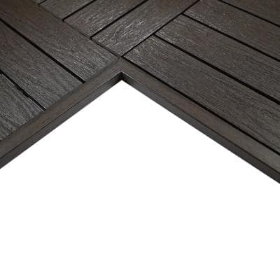 1/6 ft. x 1 ft. Quick Deck Composite Deck Tile Inside Corner Trim in Indonesian Merbau (2-Pieces/Box)