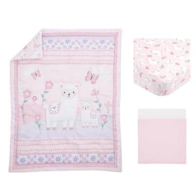 Sweet Llama and Butterflies Floral Pink and Purple 3-Piece Crib Bedding Set