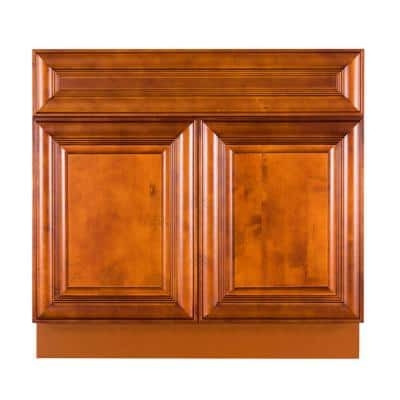 Cambridge Assembled 42x34.5x24 in. Sink Base Cabinet with 2 Doors in Chestnut