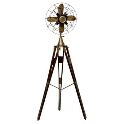 62.5 in. Antique Brown Lamp Fan with Adjustable Wood Tripod Base
