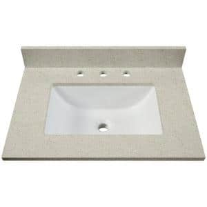 31 in. W x 22 in. D Engineered Quartz Single Basin Vanity Top in Tempest Grey with White Trough Basin