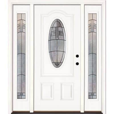 67.5 in.x81.625 in. Rochester Patina 3/4 Oval Lt Unfinished Smooth Left-Hand Fiberglass Prehung Front Door w/ Sidelites