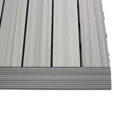 1/6 ft. x 1 ft. Quick Deck Composite Deck Tile Straight Fascia in Icelandic Smoke White (4-Pieces/Box)