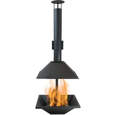 80 in. Black Steel Outdoor Wood-Burning Modern Backyard Chiminea Fire Pit