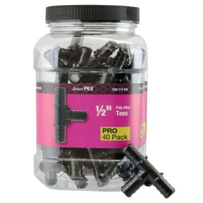 1/2 in. Plastic PEX Barb Tee Pro Pack (40-Pack)