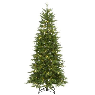 7.5 ft. Feel Real Bedminster Spruce Slim Hinged Tree with 900 Dual Color LED Infinity Lights Plus PowerConnect