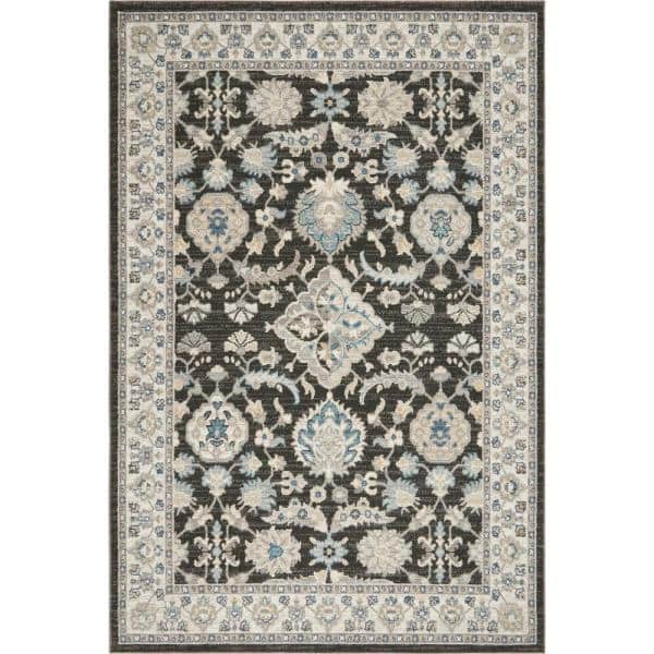 Home Dynamix Riviera Cruz Anthracite Ivory 7 Ft 10 In X 10 Ft 2 In Indoor Area Rug 1 7220 926 The Home Depot
