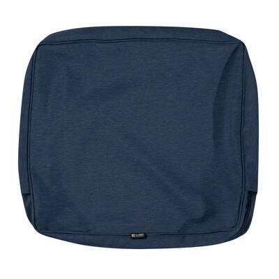 Montlake FadeSafe 23 in. W x 22 in. H x 4 in. D Patio Lounge Back Cushion Slip Cover in Heather Indigo Blue