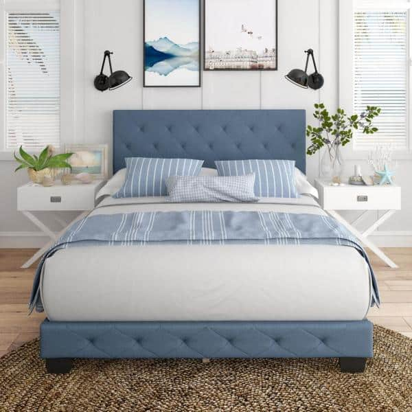 Restrite Charlotte Blue Linen Queen, Charlotte Queen Bed