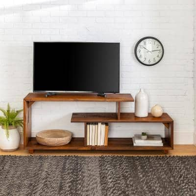 15 in. Amber Wood TV Stand 69 in. with Open Storage