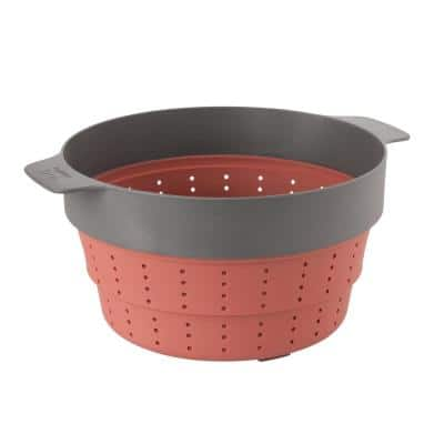 Leo 10 in. Pink and Grey Silicone 2-in-1 Steamer and Strainer