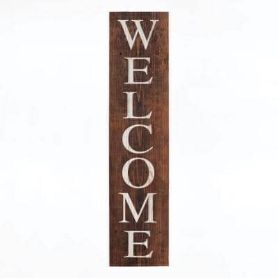 Welcome individual brown wood decorative sign