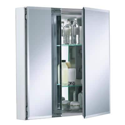 Double Door 25 in. W x 26 in. H x 5 in. D Aluminum Cabinet with Square Mirrored Door in Silver
