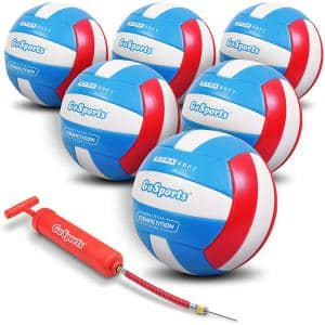 Recreational Volleyball with Ball Pump and Bag, Regulation Size (6-Pack)