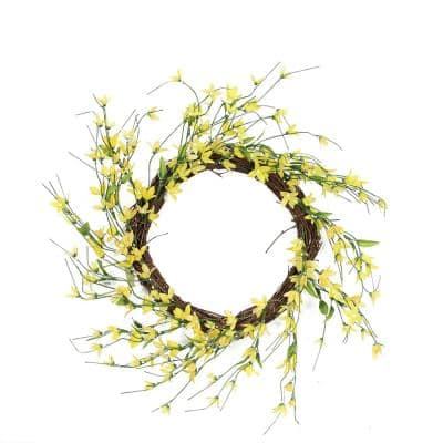 12 in. Unlit Yellow Green and Brown Decorative Artificial Spring Floral Twig Wreath