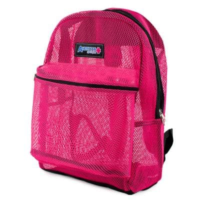 Mesh 17 in. Pink School Security Travel Backpack