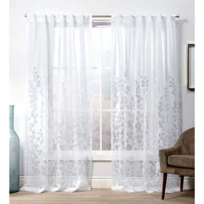 Wilshire Winter White 54 in. W x 108 in. L Pinch Pleat Top, Burnout Sheer Curtain Panel (Set of 2)