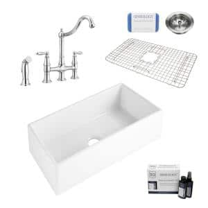 Harper All-in-One Farmhouse Apron Front Fireclay 36 in. Single Bowl Kitchen Sink with Pfister Bridge Faucet in Chrome