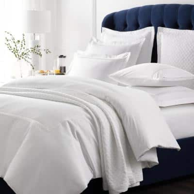 Legends Hewett White Embroidered 600-Thread Count Egyptian Cotton Sateen Oversized Queen Duvet Cover